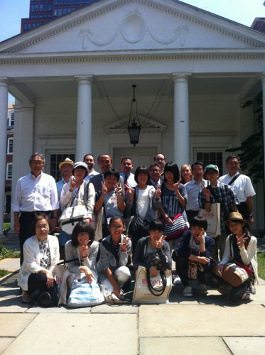 The Nihonmatsu Junior High School Student Delegation outside of the Timothy Dwight College Town Hall         Including (back row, left to right) Nick Disantis, Registrar, Council on East Asian Studies; Richard Sosa, Program Director, Council on East Asian Studies; William Fleming, Assistant Professor, East Asian Languages & Literatures and Theater Studies; Frances Rosenbluth, Wells Professor of Political Science