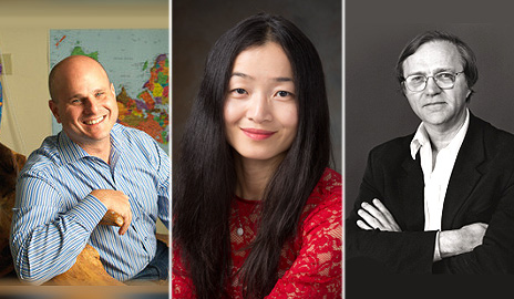 The 2016 Guggenheim Fellows include three Yale professors (from left): Dean Karlan, Jing Tsu, and Robert Storr