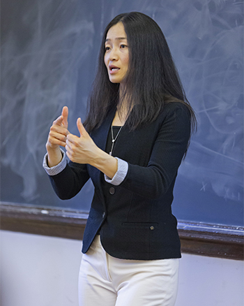 "Professor Jing Tsu shown here teaching her course on ""China and the World."""